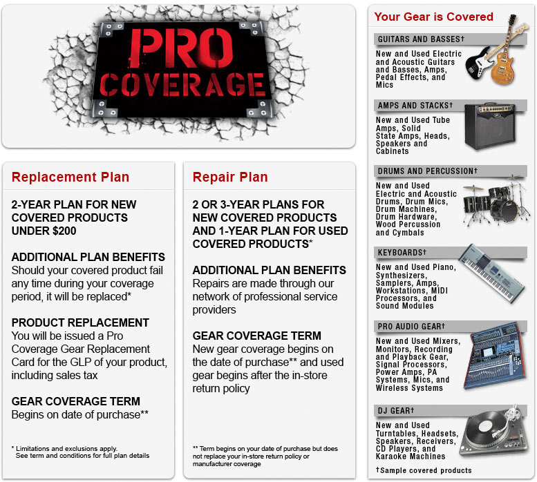 Welcome to the Guitar Center Pro Coverage Overview Page! Check out the benefits, details, terms, and FAQs regarding insuring your instrument or gear.